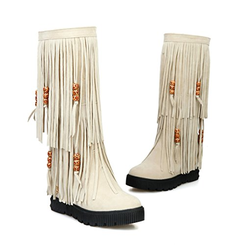 Tassels Fringe Mid Beige Mid Heel YE Winte Shoes Fashion Calf Autumn Wedge Boots Round with Increasing Height Women's Platform Toe 4q0Bq7nw