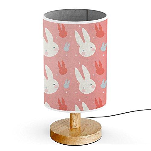 ArtLights - Wood Base Decoration Desk / Table / Bedside Lamp [ Bunny White Rabbit Pink ]