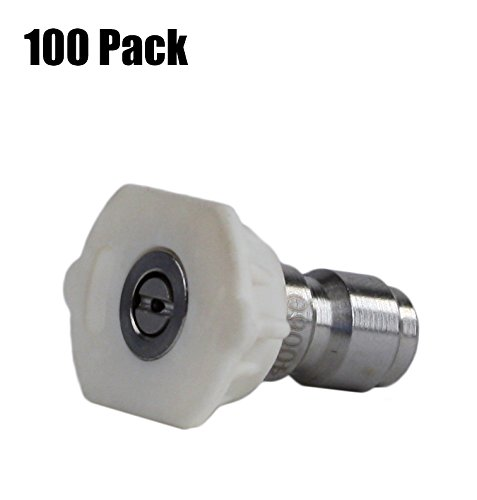 100 Pack of Erie Tools 5.0 Stainless Steel Orifice 40 Degree 1/4'' Quick Connect 4,000 PSI High Pressure Washer Spray Nozzle Tips by Erie Tools