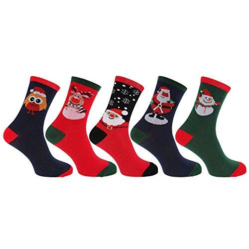 Mens Christmas Novelty Socks (Assorted Pack Of 3) (US Shoe 8-12) (Assorted) (Mens Christmas Socks)