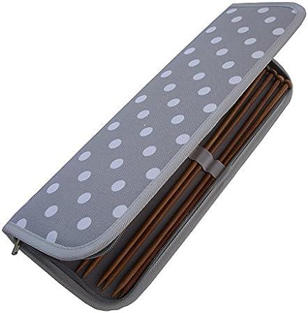 HobbyGift MR4700F/137 | Estuche para agujas de tejer | Lleno de tejer prendedores | Manchas blancas en gris: Amazon.es: Hogar