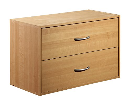2-Drawer Organizer, Maple - Maple Stackable Storage Organizer