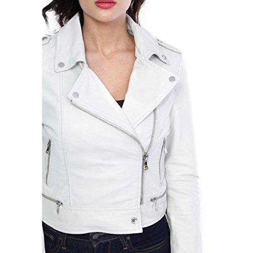 Yoko Oakwood femme blanc cuir Blouson 62326 q0Utw4HnxE