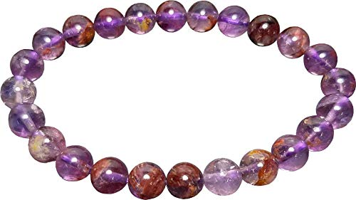 Aldomin Natural Energized Purple Super Seven Gemstone Healing Crystal Bracelet (Bead Size :- 7 to 7.5 MM)