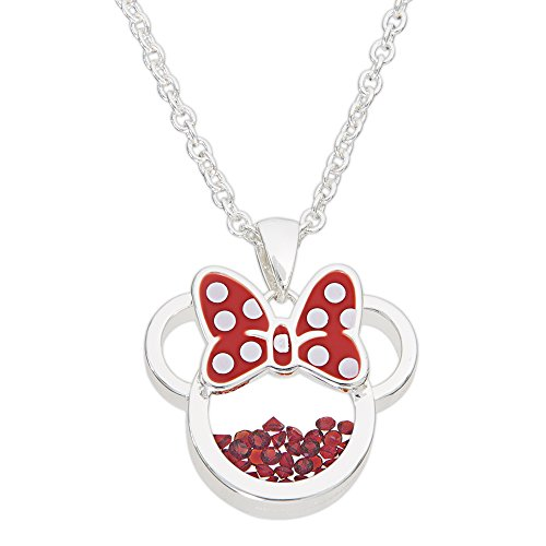 Jewelry Necklace Disney - Disney Birthstone Women and Girls Jewelry Minnie Mouse Silver Plated July Ruby Red Cubic Zirconia Shaker Pendant Necklace, 18+2