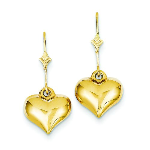 Puffed Heart Dangle Earrings Jewelry product image