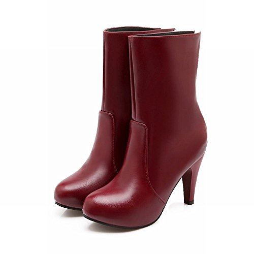Latasa Womens Fashion (Size 4.5-14) Zipper High Heel Ankle-high Dress Boots Red x1We3K3dhw