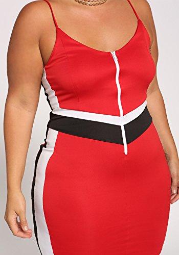 Il Debshops Blocchi Vestito Rosso Delle Colori Cerniera Più Aderente Formato A Che Donne nAr0TwqAx