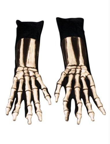 [Zagone Skeleton Gloves, White Bones, Black Cotton Gloves] (Deluxe Black Polyester Gloves)