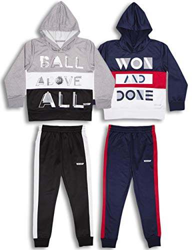 Hind Boys 4-Piece Hoodie and Sweatpant Set for Jogging and Track
