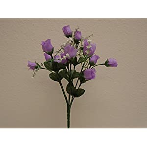"""4 Bushes LAVENDER Mini Rose Buds Artificial Silk Flowers 12"""" Bouquet 15-2601LV 44"""