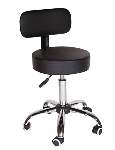 Topline Rolling All-Purpose Stool (With Backrest): Soft Padded, Adjustable, 360-Degree Swivel Seat