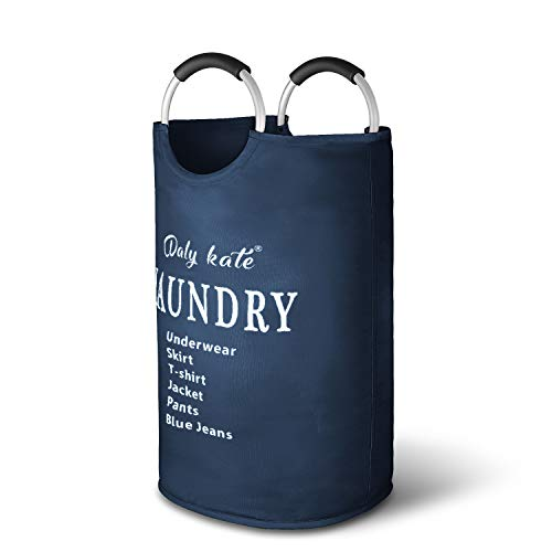 Dalykate Large Laundry Basket Collapsible Oxford Fabric Laundry Hamper Bag with Aluminium Handles Foldable Tote Clothes Basket for Laundry and Storage-Dark Blue