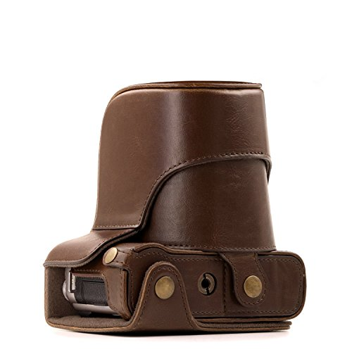 MegaGear Fujifilm X-A5, X-A3, X-A2, X-A1, X-M1 Ever Ready Leather Camera Case and Strap, with Battery Access - Dark Brown - MG173