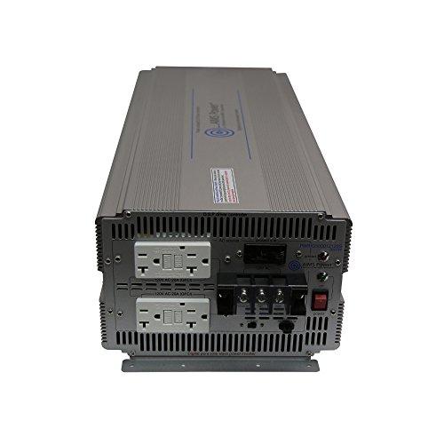AIMS Power PWRIG500024120S Pure Sine Power Inverter, 5000W Continuous Power, 10000W Surge Peak Power, 24 Volt DC Input, 60hz or 50hz Switch, 2 GFCI Dual Outlet, Direct connect AC Terminal Block