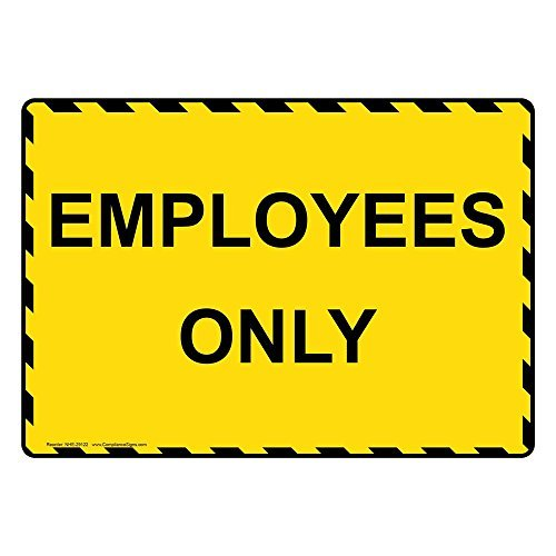 Employees Only Yellow Metal Sign Aluminum Signs 10X14 Inch Corvette Alarm