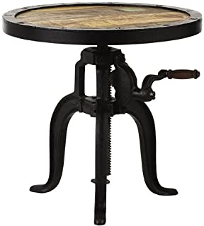 Industrial Adjustable Height Accent Table, ADJUSTABLE, NATRL RECLAIMED