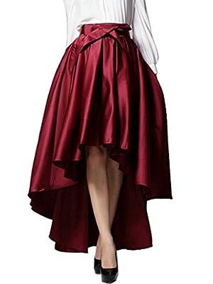 Clothink Women Burgundy High Waist Back Zipper Plain Hi-lo Skater Skirt
