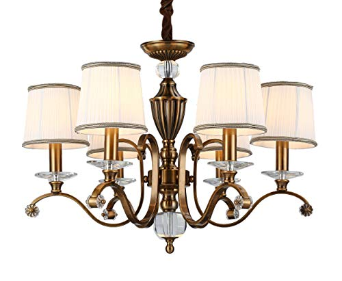 "Aiwen Williamsburg 6 Light Antique Brass Chandelier Cloth Made Lampshade Ceiling Lighting Pendant Lights H20"" x W30"""
