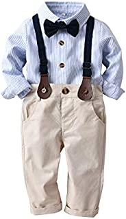 Toddler Baby Boys Plaid Suits with Suspenders Long Sleeve Gentleman Outfits Set 4 Pcs