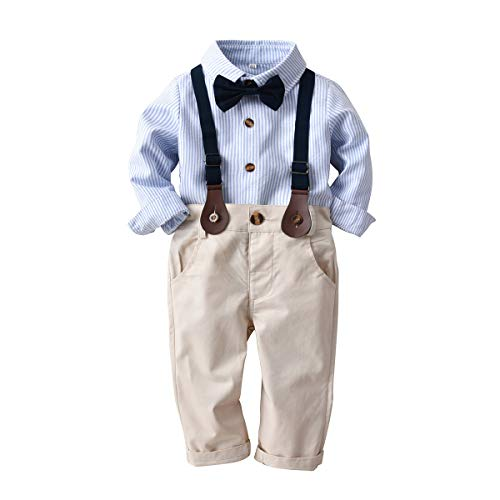 Infant Boys Long Sleeve Pant - Boarnseorl Baby Boys Long Sleeve Gentleman Outfit Suits Set,12-18M Blue