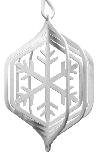 SWEN Products SNOWFLAKES Tini Swirly Metal Wind Spinner (Metal Snowflakes White)