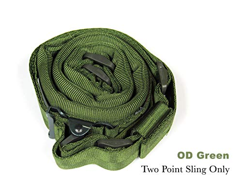 Tactics Wide Padded Quick Adjust Sling, 2 Point Hunting Sling with Metal Buckle (OD - Cinch Metal
