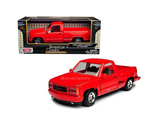 Motor Max 1: 24 W/B American Classics - 1992 GMC Sierra GT (Red) Diecast Vehicles