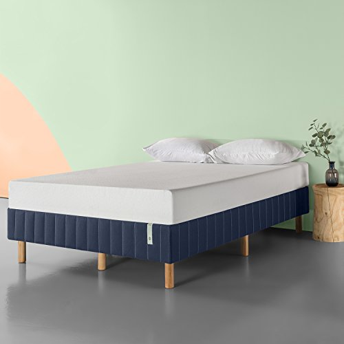 Zinus Quick Snap Standing Mattress Foundation, Platform Bed, No Box Spring Needed, Navy, Full