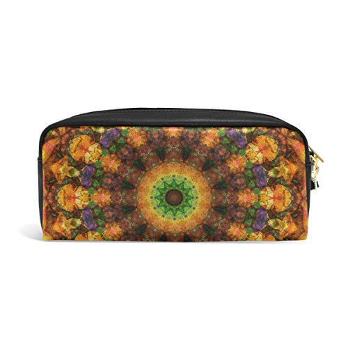 ZZKKO Abstract Kaleidoscope Leather Zipper Pencil Case Pen Stationary Bag Cosmetic Makeup Bag Pouch Purse (Kaleidoscope Leather Womens)