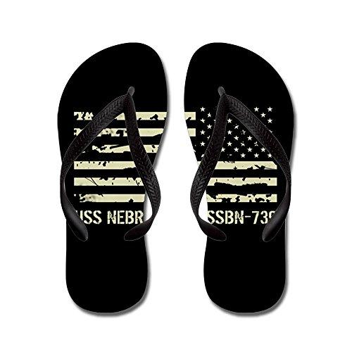 CafePress USS Nebraska - Flip Flops, Funny Thong Sandals, Beach Sandals Black