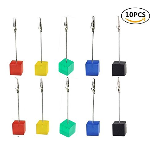 Cube Paper Holder - 10pcs Table Number Holder Name Place Card Holder Memo Clip Holder Stand Note Holder Pictures Card Paper Menu Clip (colorful)