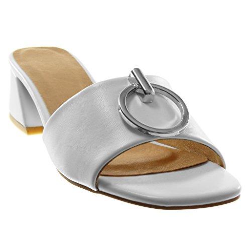 Angkorly Damen Schuhe Sandalen Mule - Slip-On - mit Ring - Metallisch Blockabsatz High Heel 4 cm Weiß
