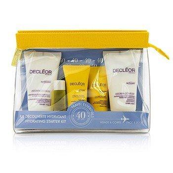 Decleor Hydrating Starter Kit: Cleansing Mousse + Essential Serum 5ml + Light Cream 15ml + Body Milk 50ml + Bag, 1 Count
