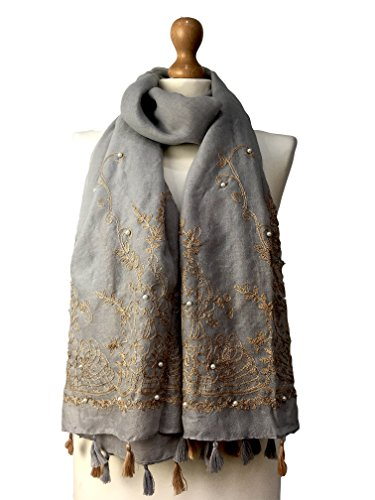 New Women Ladies Soft Pearl Beaded Large Scarf Embrioded Tessels Hijab Warmer (Grey)