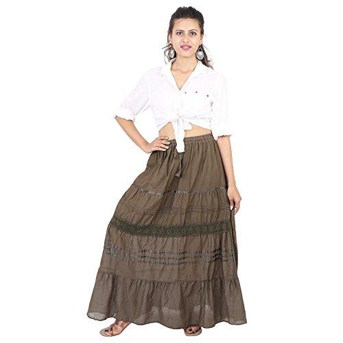 Suman Handicraft Women Cotton Solid Long Skirt Wrinkles Pattern Boho Stretch Skirts (Mehandi Green)