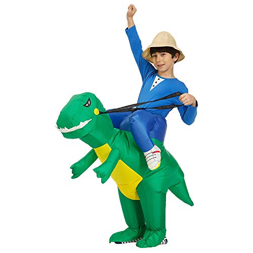 Qshine Inflatable Rider Costume Riding Me Fancy Dress Funny Dinosaur Dragon Funny Suit Mount Kids Adult (Child, Green)]()