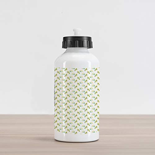 Lunarable Watercolor Flower Aluminum Water Bottle, Herbal Floral Spring Field Yellow Meadow Corolla Flower Dill Leaves, Aluminum Insulated Spill-Proof Travel Sports Water Bottle, Fern Green White