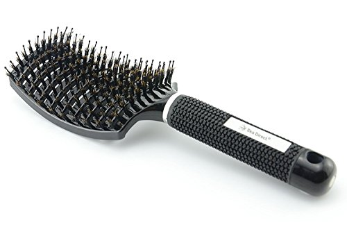 Massage Pin Brush - Boar Bristle Hair Brush: Nylon Detangling Pins and 100% Natural Boar Bristles for Hair Oil Distribution. Curved for Scalp Massage. Vented For Faster Drying.(Black)