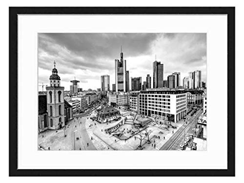 Amymami Art Print Wall Picture (Black White 20x14 inch) - Citiyscape Frankfurt Hauptwache Towers Town Sky (Hauptwache Frankfurt)