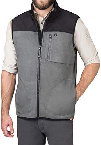 American Outdoorsman Water Repellent Bonded Fleece Full Zip Vests For Men (X-Large Steel)