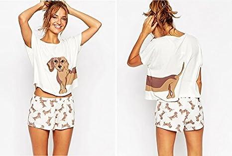 ff4d24d151e Amazon.com   Loose Pajama Sets Women Cute Dachshund Print 2 Pieces Set  Cotton T shirt Top + Shorts Elastic Waist Plus Size White (Size L)   Everything  Else