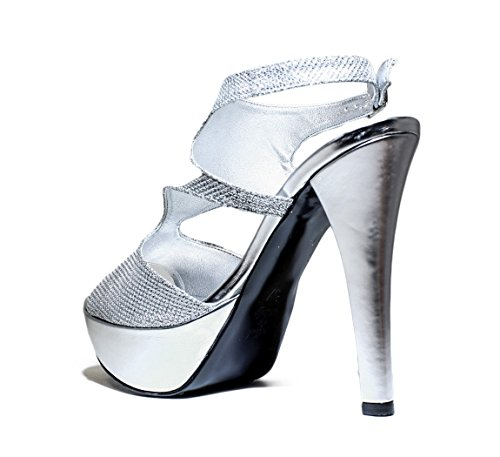 JOEL RPE FEMME SANDALES JEWEL POMPES, TALONS HAUTS, NOUVELLE COLLECTION PRINTEMPS ETE 2016 FABRIC SILVER