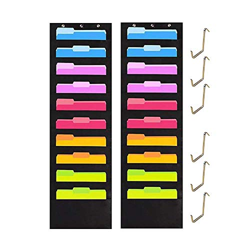 Pack of 2 Wall Storage Pocket Charts with 10 Pockets 6 Over Door Hangers File Organizer - Organize Your Assignments, Classroom Files, Scrapbook Papers & More (Black)