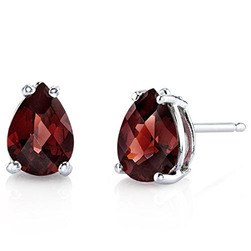 14 Karat White Gold Pear Shape 1.75 Carats Garnet Stud (Garnet Pear Earrings)