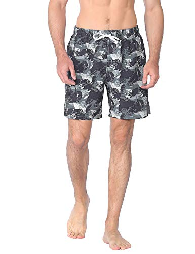 Nonwe Men's Swimming Shorts Quick Dry Beach Holiday Leaf Printed Board Trunks Green 38