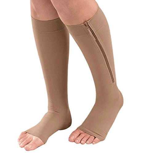 Ancia Zipper Knee Length Open Toe Support Compression Therapy Hoisery Socks (Beige, X-Large)