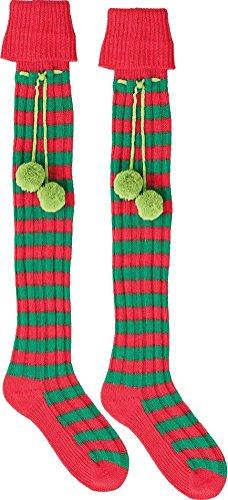 Amscan Elf Boot Socks, Red/Green, Fabric, (Green Elf Boots)