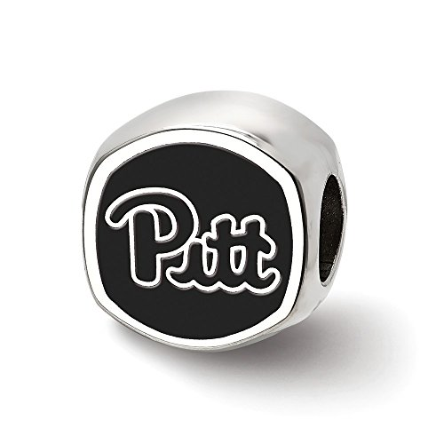 Sterling Silver LogoArt Official Licensed Collegiate University of Pittsburgh (Pitt) Cushion Shaped Double Logo Bead
