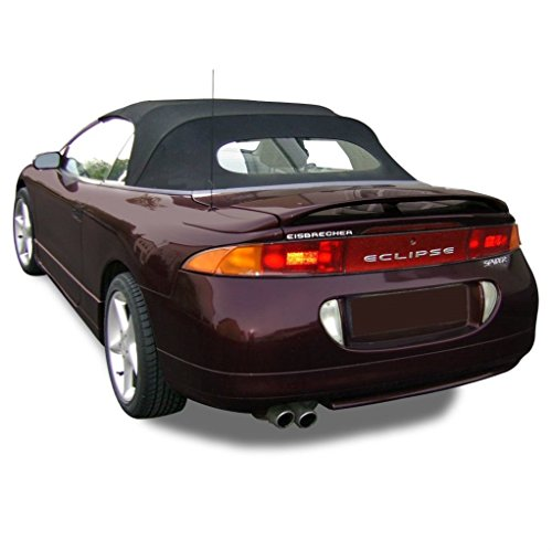 Compatible With Mitsubishi Eclipse Spyder Convertible Top and Heated Glass window 1995-1999 in Twill Vinyl (Black)